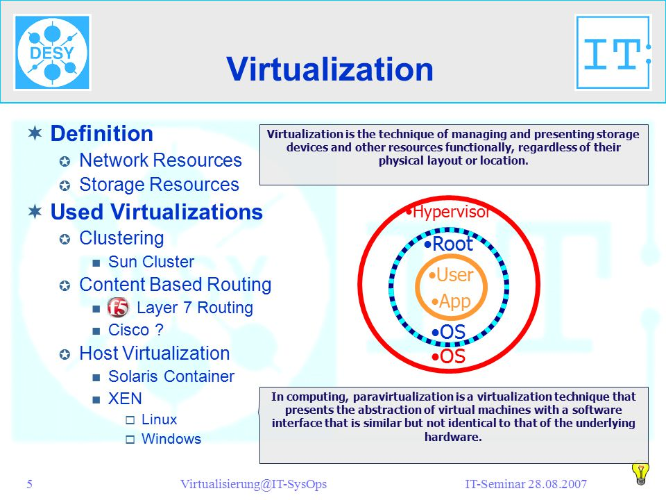 IT-Seminar 28.08.2007Virtualisierung@IT-SysOps5 Virtualization  Definition  Network Resources  Storage Resources  Used Virtualizations  Clustering Sun Cluster  Content Based Routing F5 Layer 7 Routing Cisco .
