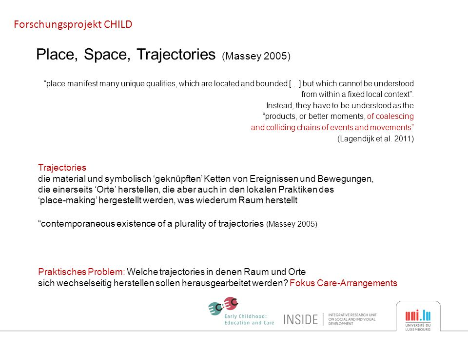 Forschungsprojekt CHILD Place, Space, Trajectories (Massey 2005) place manifest many unique qualities, which are located and bounded […] but which cannot be understood from within a fixed local context .