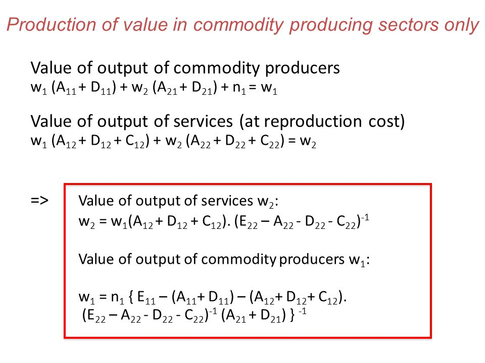 Production of value in commodity producing sectors only Value of output of commodity producers w 1 (A 11 + D 11 ) + w 2 (A 21 + D 21 ) + n 1 = w 1 Value of output of services (at reproduction cost) w 1 (A 12 + D 12 + C 12 ) + w 2 (A 22 + D 22 + C 22 ) = w 2 => Value of output of services w 2 : w 2 = w 1 (A 12 + D 12 + C 12 ).
