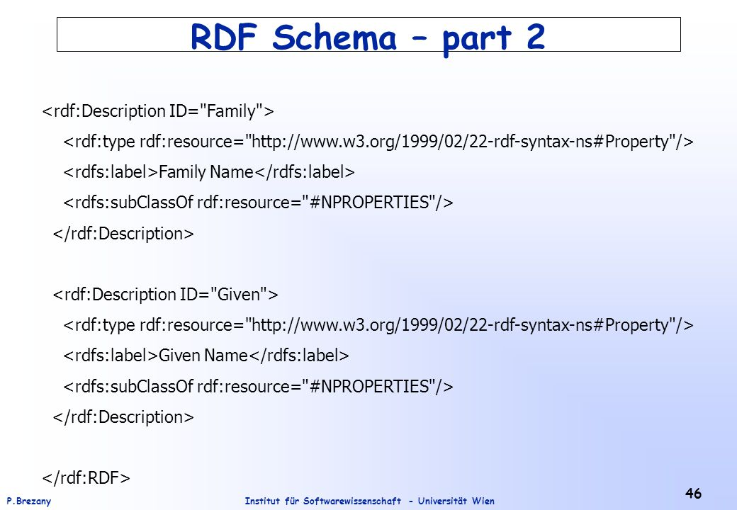 Institut für Softwarewissenschaft - Universität WienP.Brezany 46 RDF Schema – part 2 Family Name Given Name