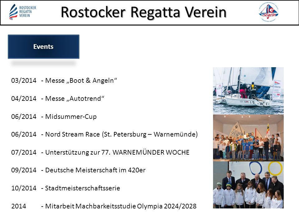 "Events 03/2014 - Messe ""Boot & Angeln 04/2014 - Messe ""Autotrend 06/2014 - Midsummer-Cup 06/2014 - Nord Stream Race (St."