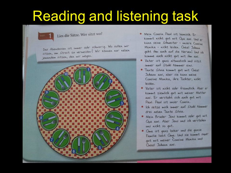 Reading and listening task