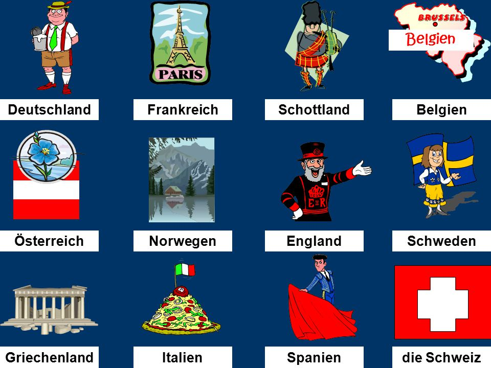 Was fehlt. (What is missing ) You will see 12 pictures for the countries again on the next slide.