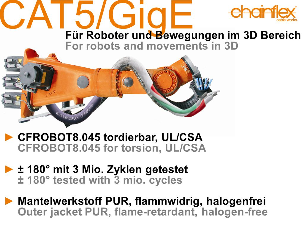 CAT5/GigE ►CFROBOT8.045 tordierbar, UL/CSA CFROBOT8.045 for torsion, UL/CSA ►± 180° mit 3 Mio.