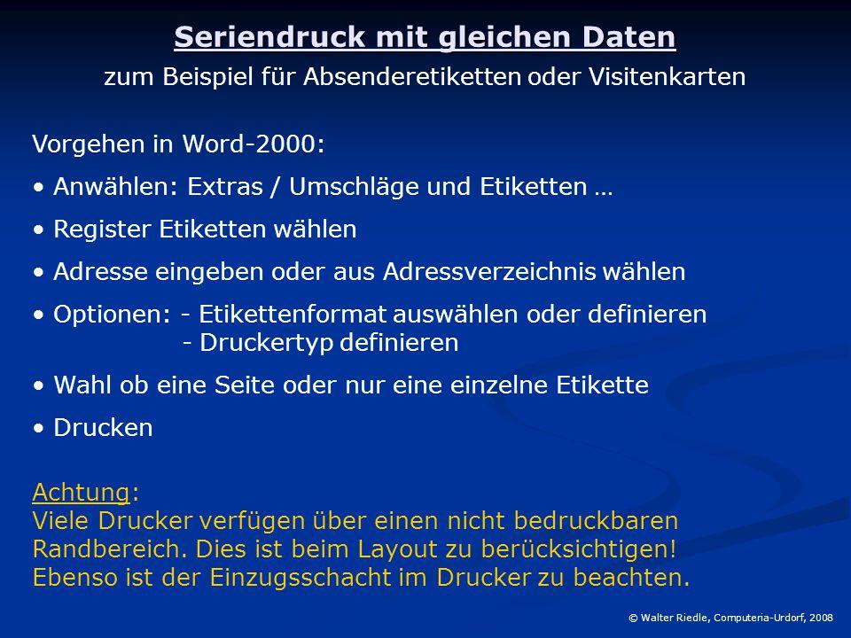 Seriendruck Mit Word Walter Riedle Computeria Urdorf