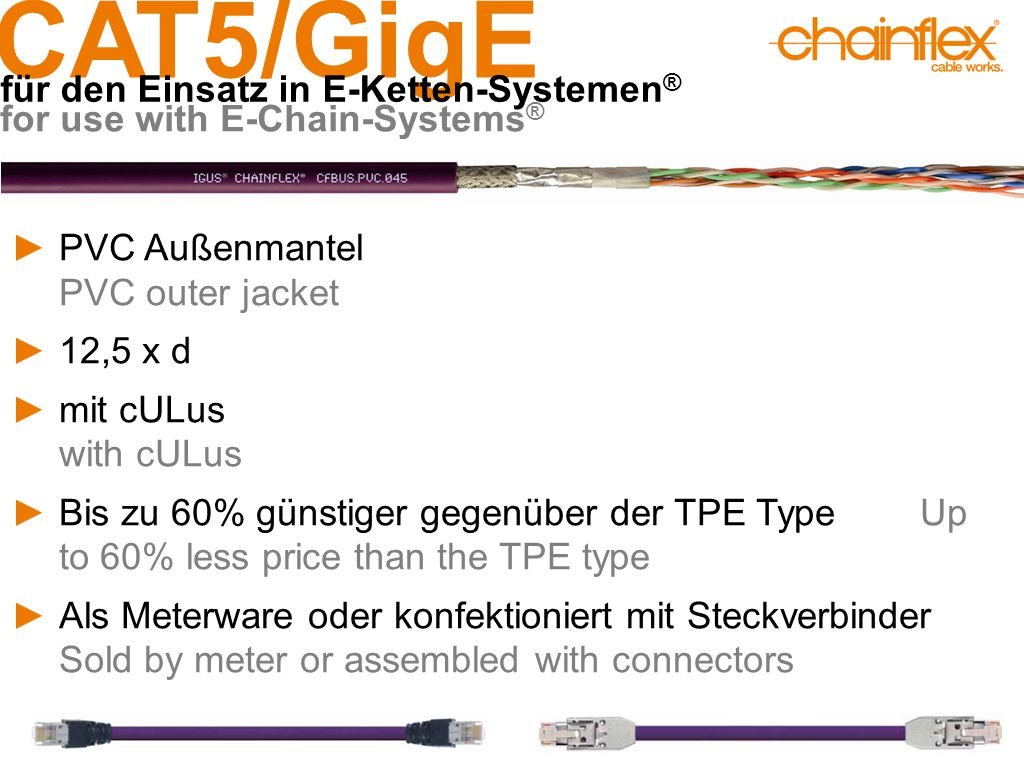 CAT5/GigE für den Einsatz in E-Ketten-Systemen ® for use with E-Chain-Systems ® ►PVC Außenmantel PVC outer jacket ►12,5 x d ►mit cULus with cULus ►Bis zu 60% günstiger gegenüber der TPE Type Up to 60% less price than the TPE type ►Als Meterware oder konfektioniert mit Steckverbinder Sold by meter or assembled with connectors