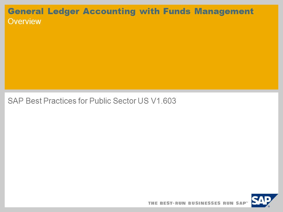 General Ledger Accounting with Funds Management Overview SAP Best Practices for Public Sector US V1.603