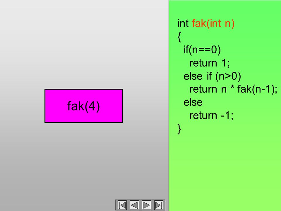 int fak(int n) { if(n==0) return 1; else if (n>0) return n * fak(n-1); else return -1; } fak(4)