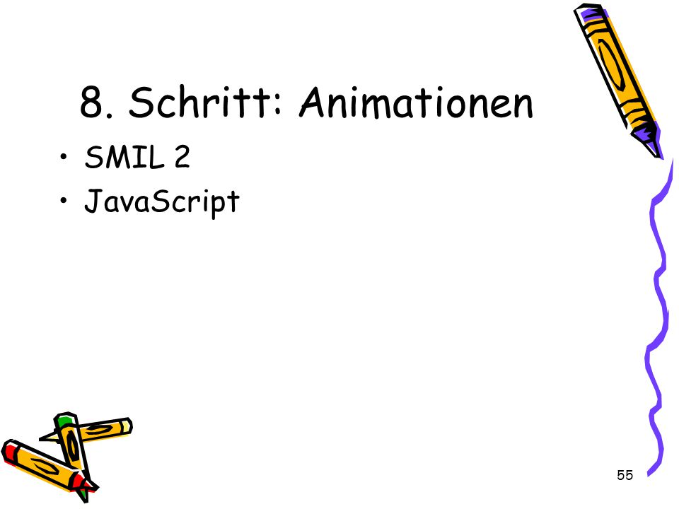 55 8. Schritt: Animationen SMIL 2 JavaScript