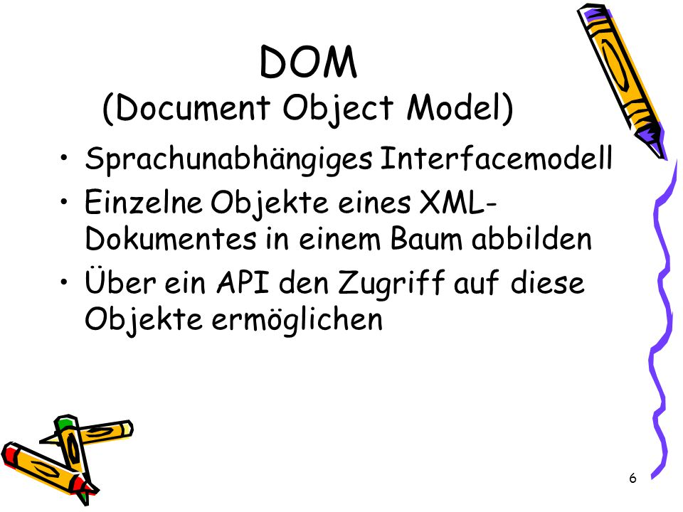 6 DOM (Document Object Model) Sprachunabhängiges Interfacemodell Einzelne Objekte eines XML- Dokumentes in einem Baum abbilden Über ein API den Zugriff auf diese Objekte ermöglichen