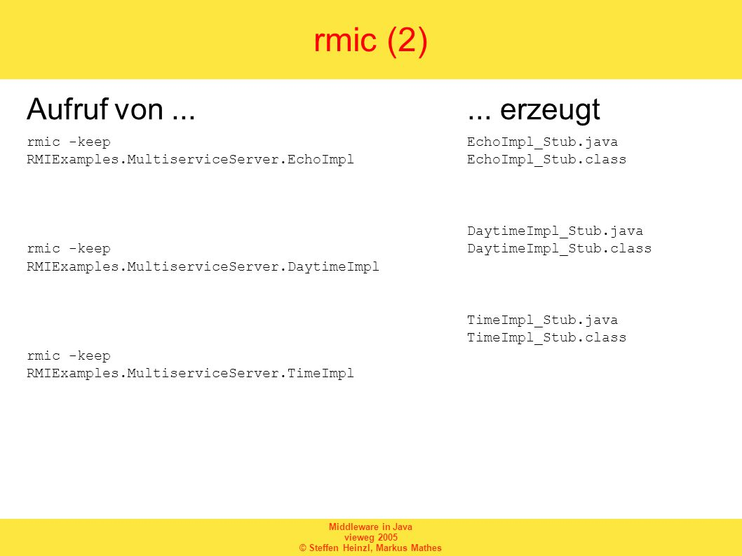 Middleware in Java vieweg 2005 © Steffen Heinzl, Markus Mathes rmic (2) Aufruf von...