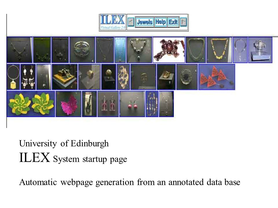 University of Edinburgh ILEX System startup page Automatic webpage generation from an annotated data base