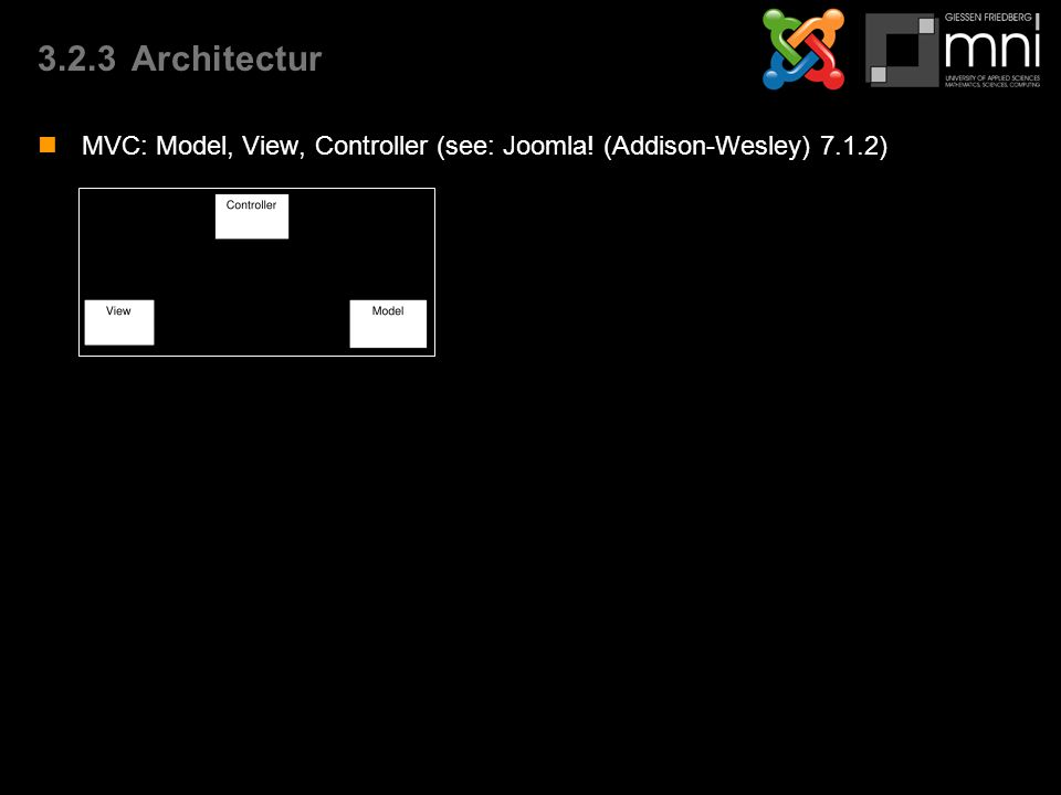 3.2.3Architectur MVC: Model, View, Controller (see: Joomla! (Addison-Wesley) 7.1.2)