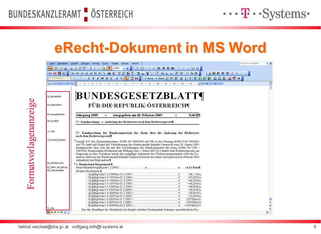 helmut.weichsel@bka.gv.at wolfgang.roth@t-systems.at8 eRecht-Dokument in MS Word Formatvorlagenanzeige
