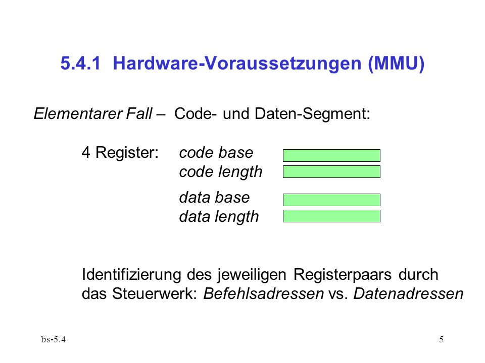 bs-5.45 Elementarer Fall – Code- und Daten-Segment: 4 Register:code base code length data base data length Identifizierung des jeweiligen Registerpaars durch das Steuerwerk: Befehlsadressen vs.
