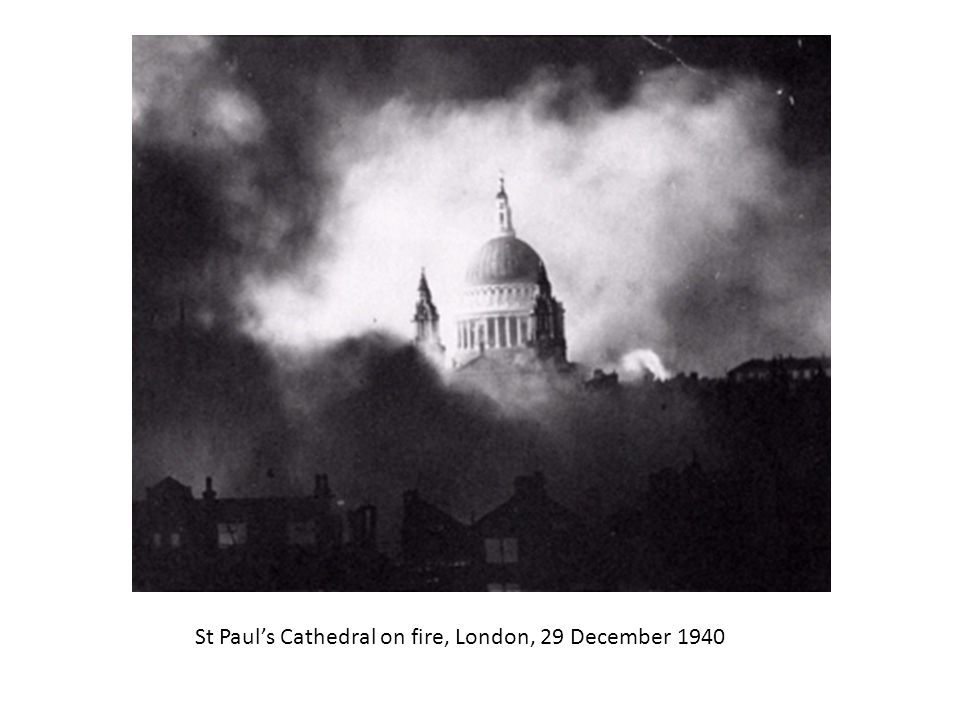 St Paul's Cathedral on fire, London, 29 December 1940
