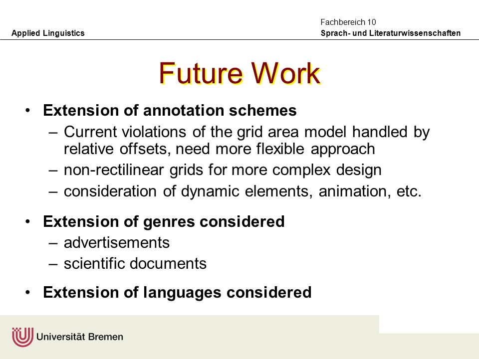Applied Linguistics Sprach- und Literaturwissenschaften Fachbereich 10 Ongoing Work Further collection and ongoing annotation of corpus –http://purl.org/net/gem Use of results for criticism of document design and for exploring the relation between layout and rhetorical structure –Delin/Bateman: Document Design, 2002 Use of Xpath queries within sequences of extensible style sheet transformations for automatic document generation –Henschel/Bateman/Delin: Konvens2002, Saarbrücken