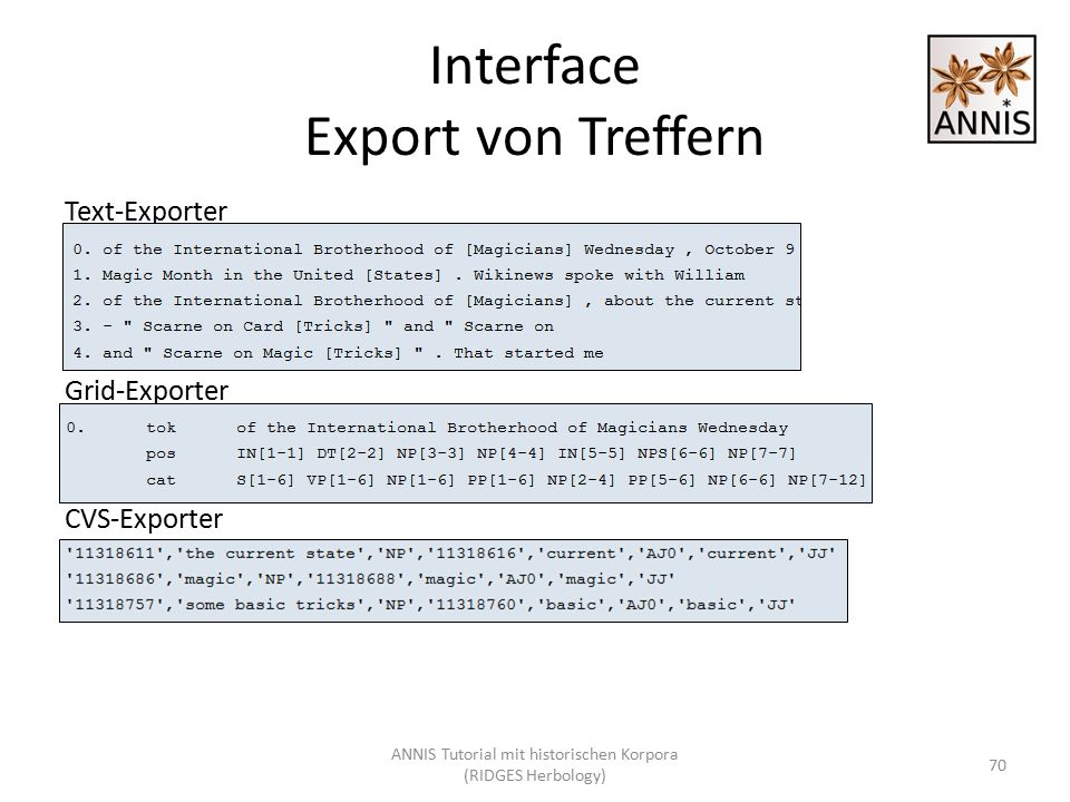 Interface Export von Treffern Text-Exporter Grid-Exporter CVS-Exporter 70 ANNIS Tutorial mit historischen Korpora (RIDGES Herbology)