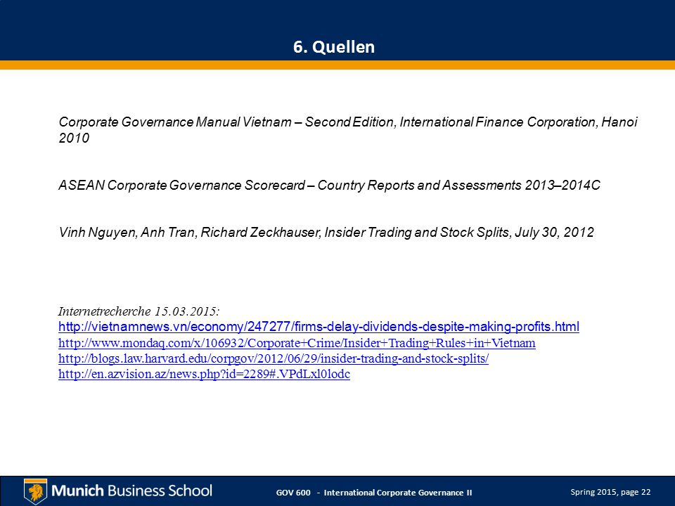 Spring 2015, page 22 GOV 600 - International Corporate Governance II 6.
