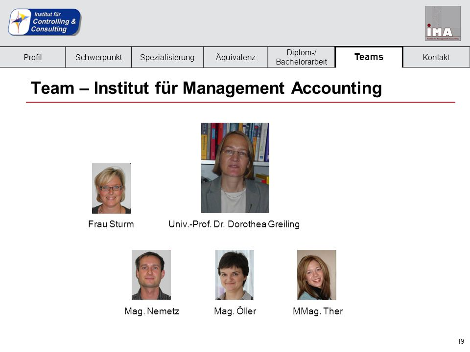 19 Team – Institut für Management Accounting Frau SturmUniv.-Prof.