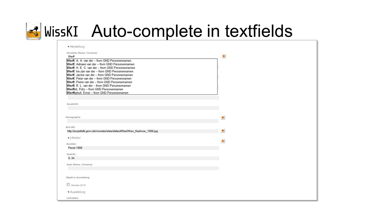 Auto-complete in textfields