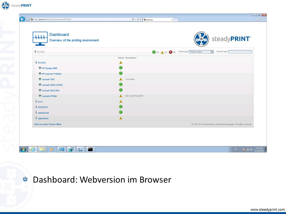 Dashboard: Webversion im Browser Sp-center-059