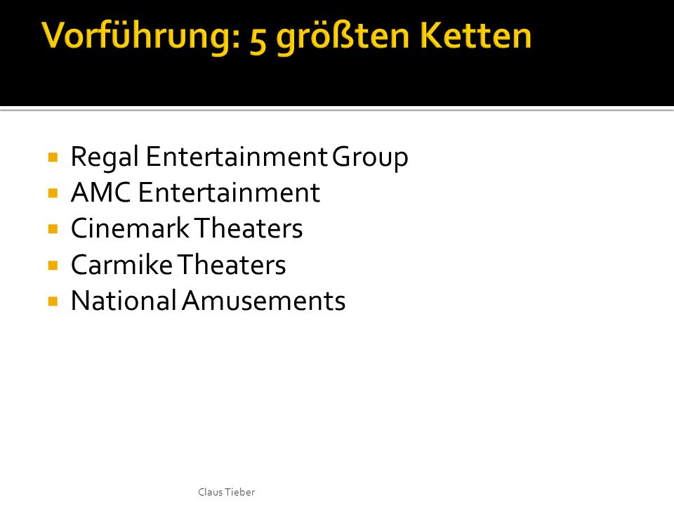  Regal Entertainment Group  AMC Entertainment  Cinemark Theaters  Carmike Theaters  National Amusements Claus Tieber