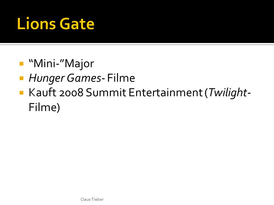  Mini- Major  Hunger Games- Filme  Kauft 2008 Summit Entertainment (Twilight- Filme) Claus Tieber