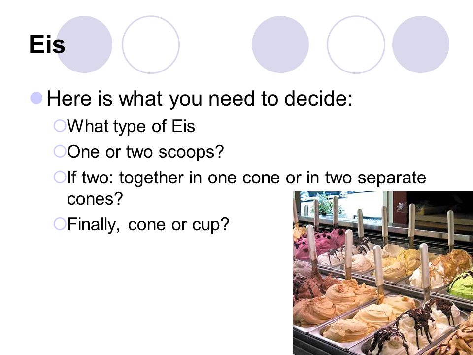 Eis Here is what you need to decide:  What type of Eis  One or two scoops.