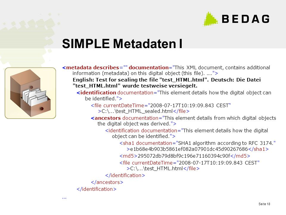 Seite 18 SIMPLE Metadaten I English: Test for sealing the file test_HTML.html .