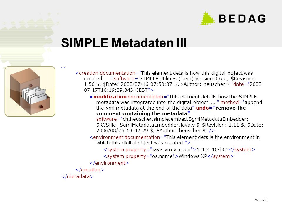 Seite 20 SIMPLE Metadaten III … 1.4.2_16-b05 Windows XP