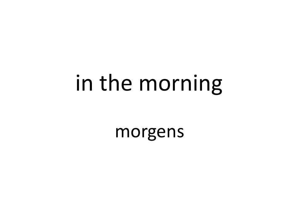 in the morning morgens