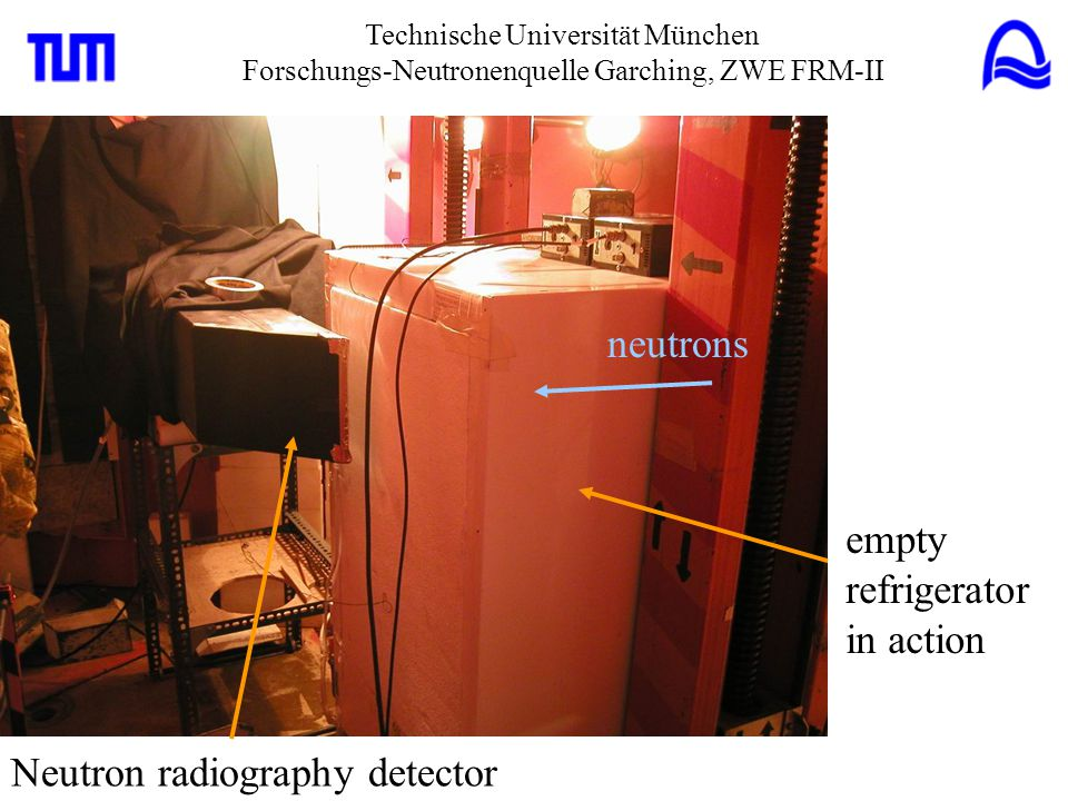 empty refrigerator in action Neutron radiography detector neutrons