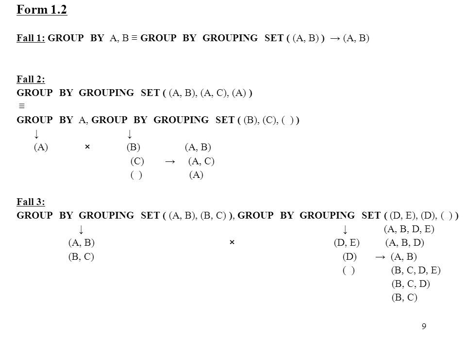 9 Form 1.2 Fall 1: GROUP BY A, B ≡ GROUP BY GROUPING SET ( (A, B) ) → (A, B) Fall 2: GROUP BY GROUPING SET ( (A, B), (A, C), (A) ) ≡ GROUP BY A, GROUP BY GROUPING SET ( (B), (C), ( ) ) ↓ (A) × (B) (A, B) (C) → (A, C) ( ) (A) Fall 3: GROUP BY GROUPING SET ( (A, B), (B, C) ), GROUP BY GROUPING SET ( (D, E), (D), ( ) ) ↓ ↓ (A, B, D, E) (A, B) × (D, E) (A, B, D) (B, C) (D) → (A, B) ( ) (B, C, D, E) (B, C, D) (B, C)
