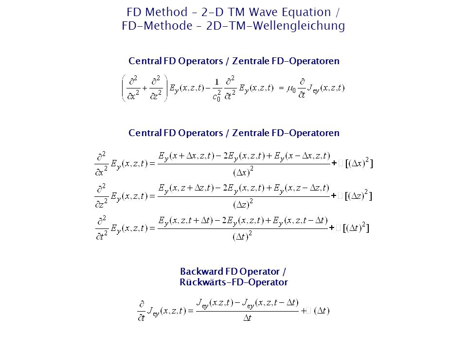 FD Method – 2-D TM Wave Equation / FD-Methode – 2D-TM-Wellengleichung Central FD Operators / Zentrale FD-Operatoren Backward FD Operator / Rückwärts-FD-Operator