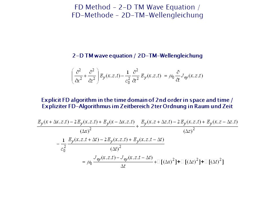 FD Method – 2-D TM Wave Equation / FD-Methode – 2D-TM-Wellengleichung Explicit FD algorithm in the time domain of 2nd order in space and time / Expliziter FD-Algorithmus im Zeitbereich 2ter Ordnung in Raum und Zeit 2-D TM wave equation / 2D-TM-Wellengleichung