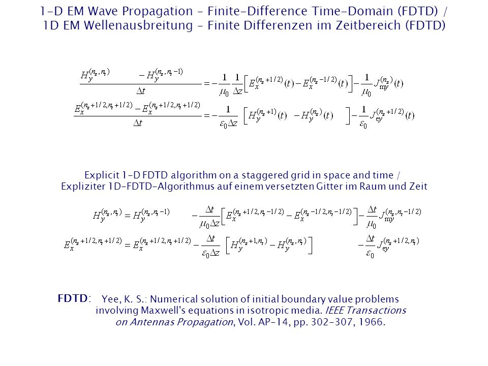 1-D EM Wave Propagation – Finite-Difference Time-Domain (FDTD) / 1D EM Wellenausbreitung – Finite Differenzen im Zeitbereich (FDTD) Explicit 1-D FDTD algorithm on a staggered grid in space and time / Expliziter 1D-FDTD-Algorithmus auf einem versetzten Gitter im Raum und Zeit Explicit 1-D FDTD algorithm on a staggered grid in space and time / Expliziter 1D-FDTD-Algorithmus auf einem versetzten Gitter im Raum und Zeit FDTD: Yee, K.