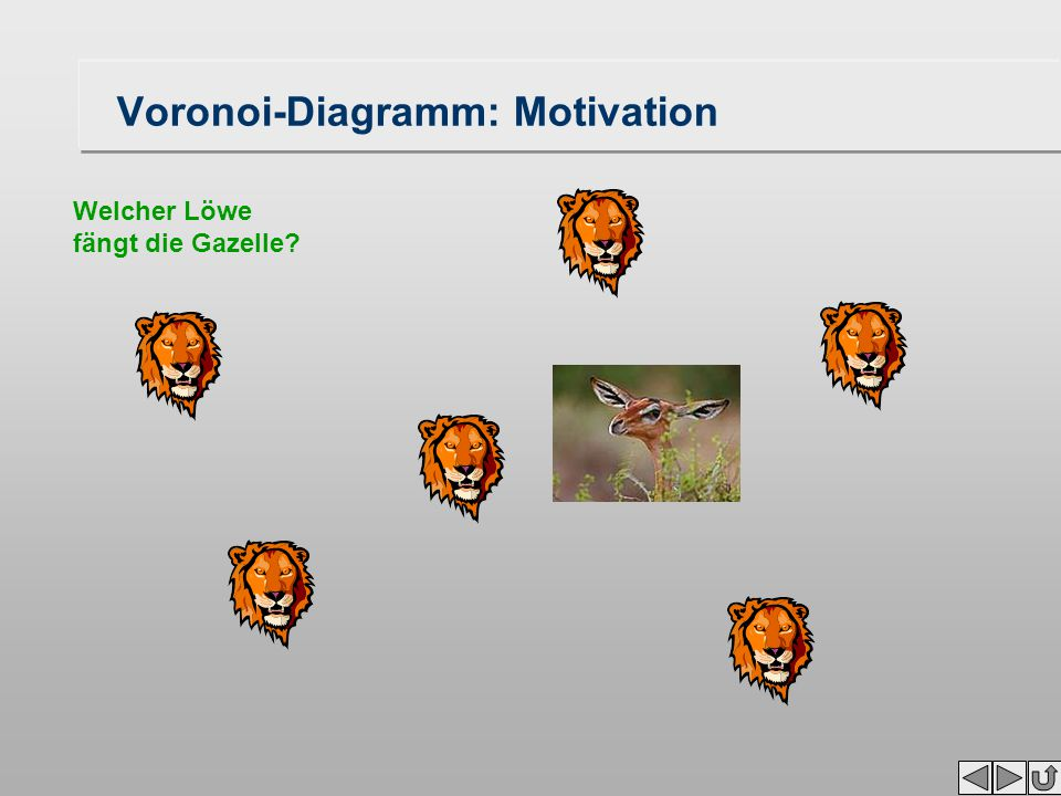 Voronoi-Diagramm: Motivation Welcher Löwe fängt die Gazelle