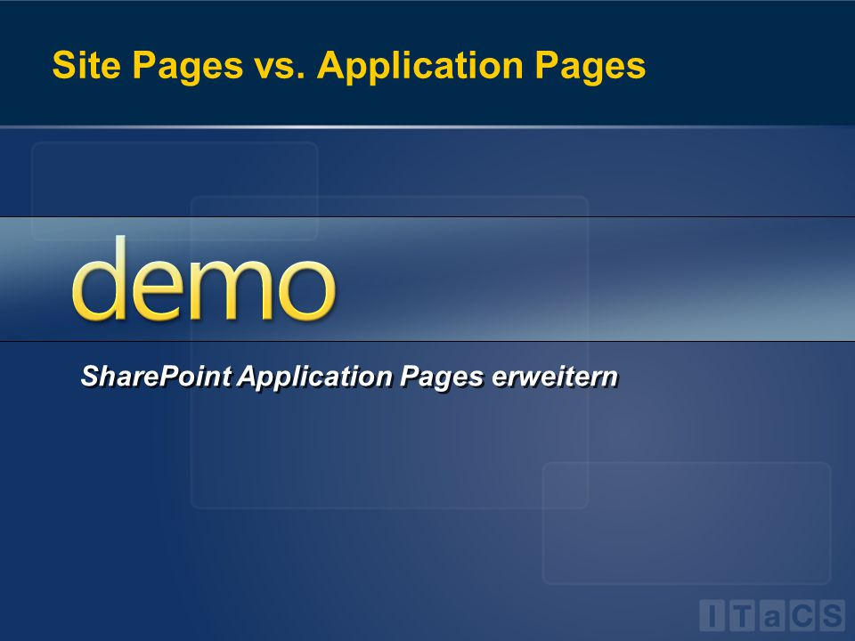 Site Pages vs. Application Pages SharePoint Application Pages erweitern
