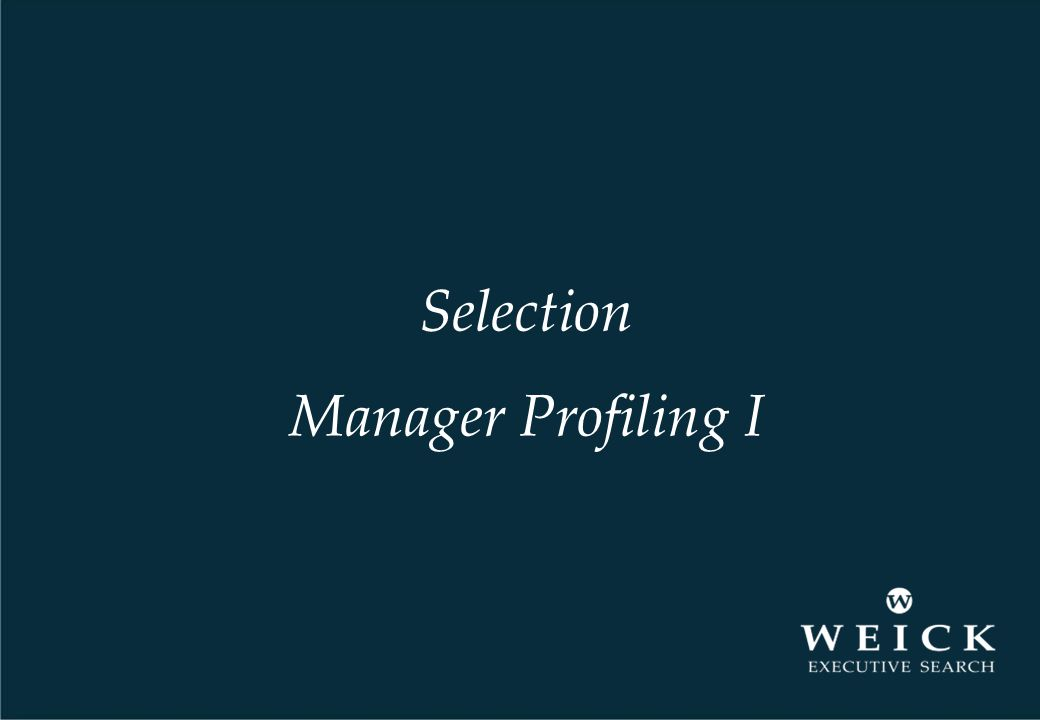 Selection Manager Profiling I