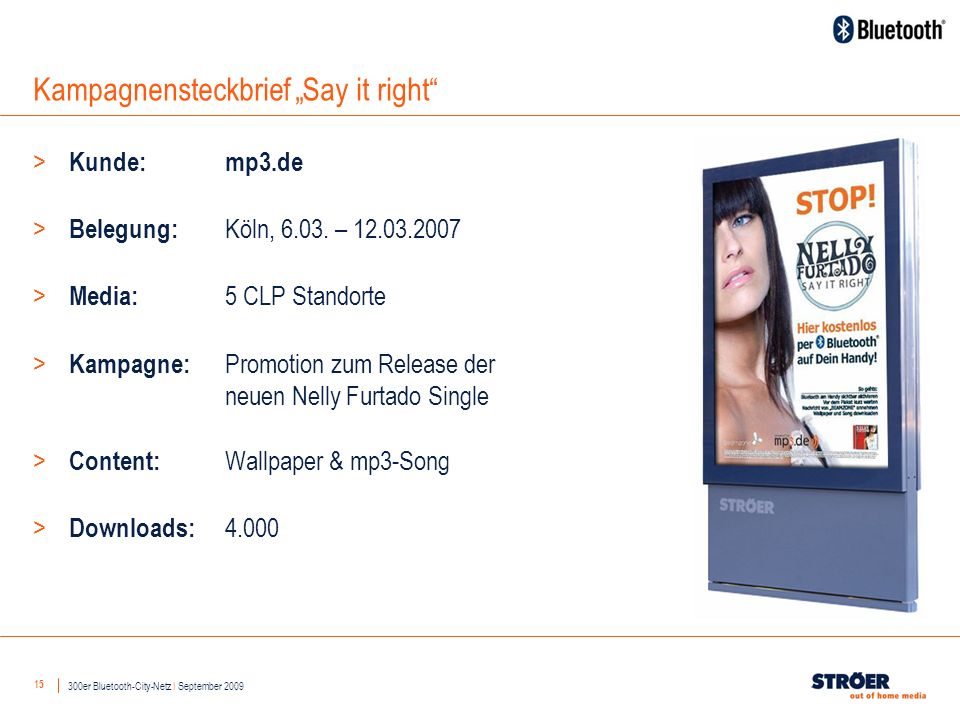 15 Kampagnensteckbrief Say it right 300er Bluetooth-City-Netz I September 2009 > Kunde: mp3.de > Belegung: Köln, 6.03.