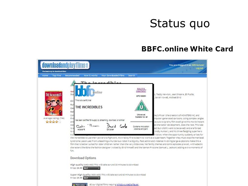 Status quo BBFC.online White Card
