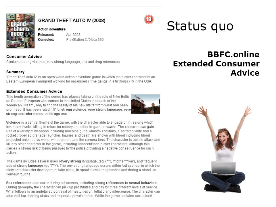 Status quo BBFC.online Extended Consumer Advice