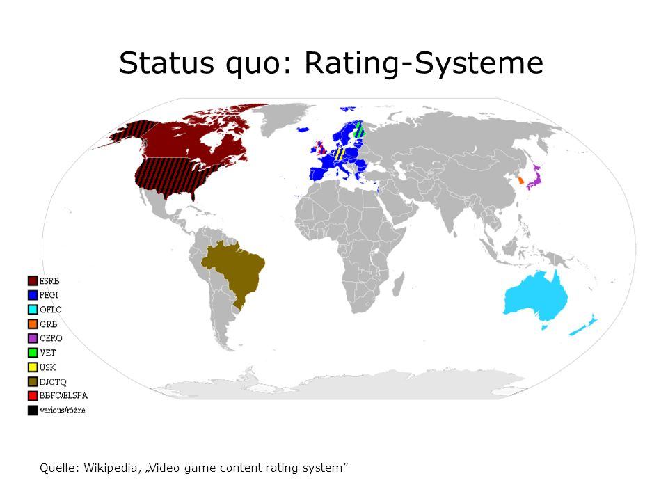 Status quo: Rating-Systeme Quelle: Wikipedia, Video game content rating system