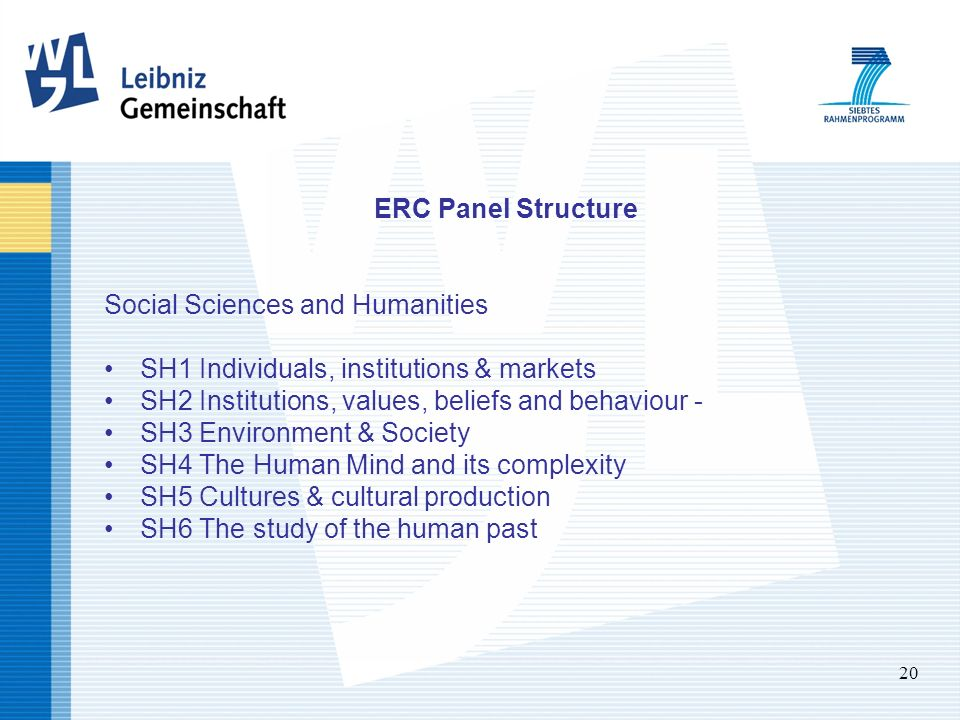 20 ERC Panel Structure Social Sciences and Humanities SH1 Individuals, institutions & markets SH2 Institutions, values, beliefs and behaviour - SH3 Environment & Society SH4 The Human Mind and its complexity SH5 Cultures & cultural production SH6 The study of the human past