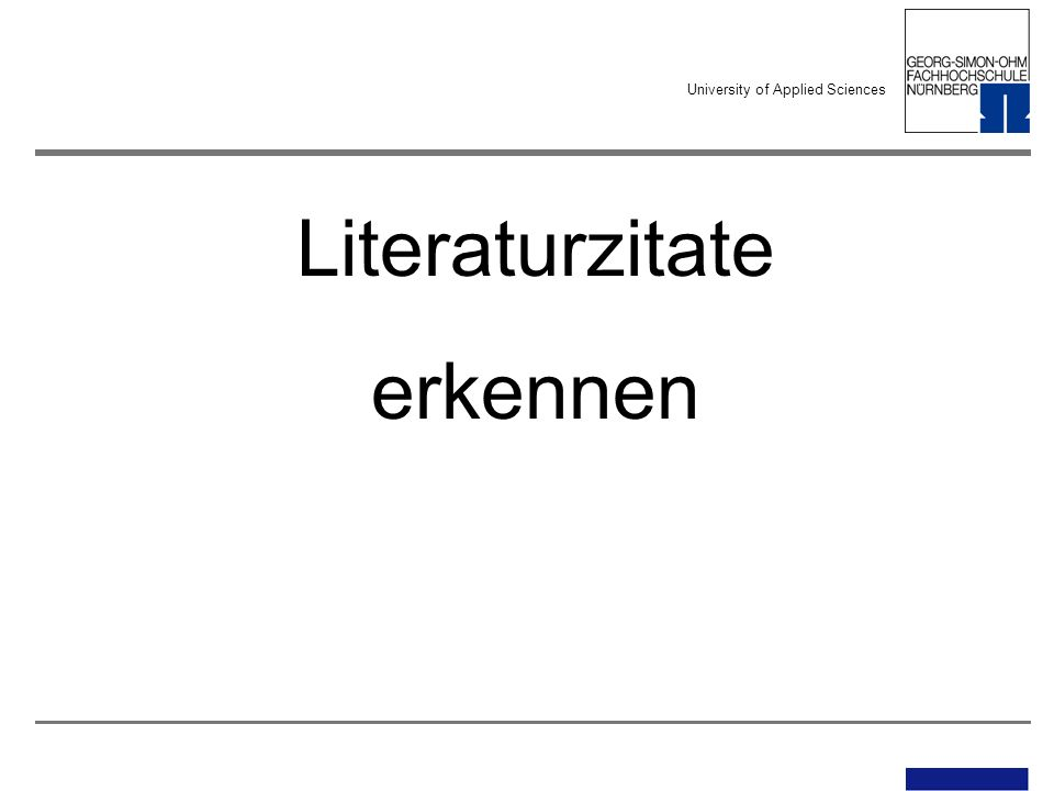 University of Applied Sciences Literaturzitate erkennen