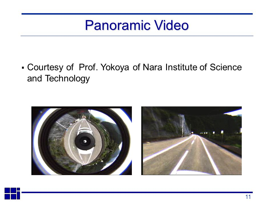 11 Courtesy of Prof. Yokoya of Nara Institute of Science and Technology Panoramic Video