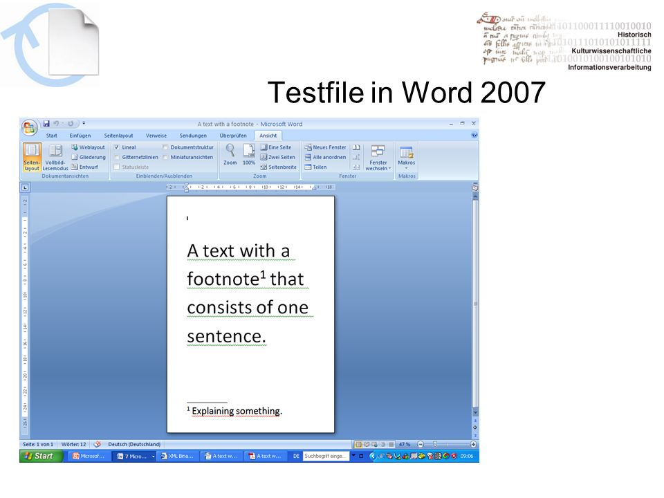 Testfile in Word 2007
