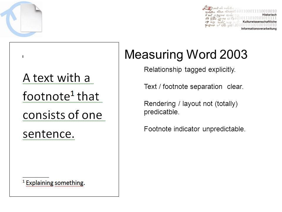 Measuring Word 2003 Relationship tagged explicitly.