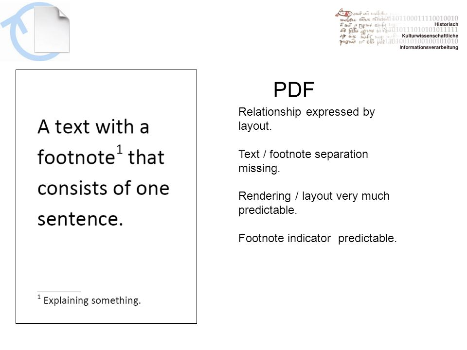 PDF Relationship expressed by layout. Text / footnote separation missing.